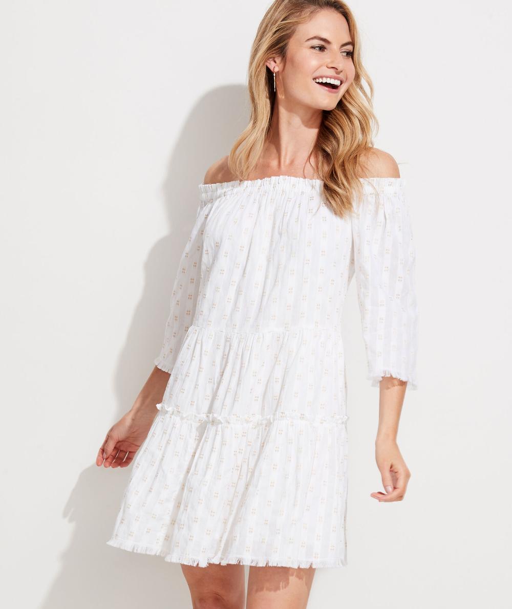 Shop Off The Shoulder Shimmer Dress At Vineyard Vines Shimmer Dress White Flowy Dress Beach White Dress [ 1190 x 1000 Pixel ]