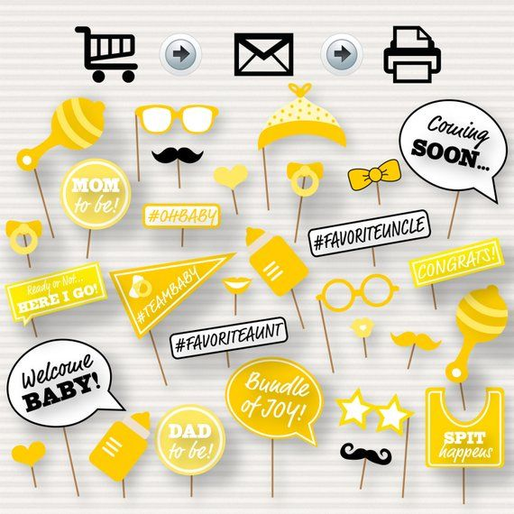 Baby Shower Printable Photo Booth Props Baby Shower Etsy In 2020 Baby Shower Photo Booth Props Baby Shower Yellow Baby Shower Printables