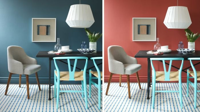ideas de diseño en diferente color con los mismo muebles, pintura