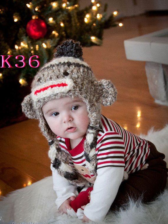 87da7bb2127 Free shipping Baby crochet hat Sock Monkey Baby Boy Crochet Hat Crochet  Infant Newborn Animal hat 80pcs
