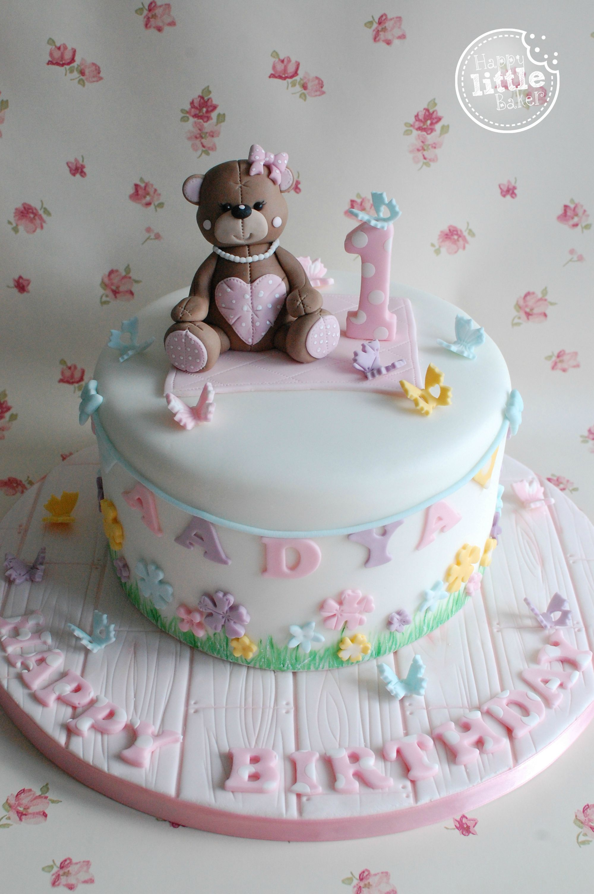 Teddy Bear Themed First Birthday Cake