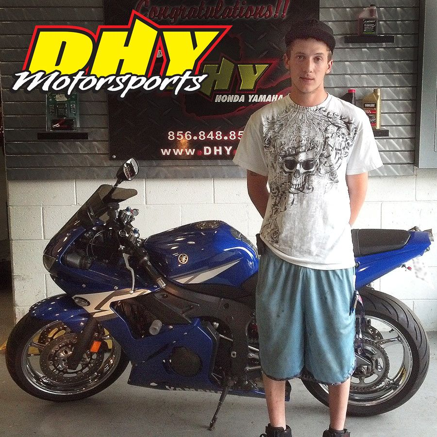 Congratulations to Jim on the purchase of his 2004 Yamaha YZF-R6. Thank you for choosing DHY as your dealership and enjoy your new ride.
