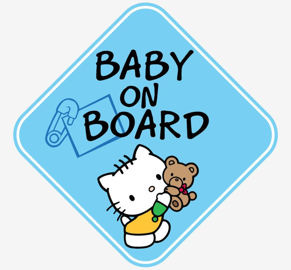 BLUE BOY HELLO KITTY BABY ON BOARD WINDOW DECAL STICKER VINYL GRAPHICS