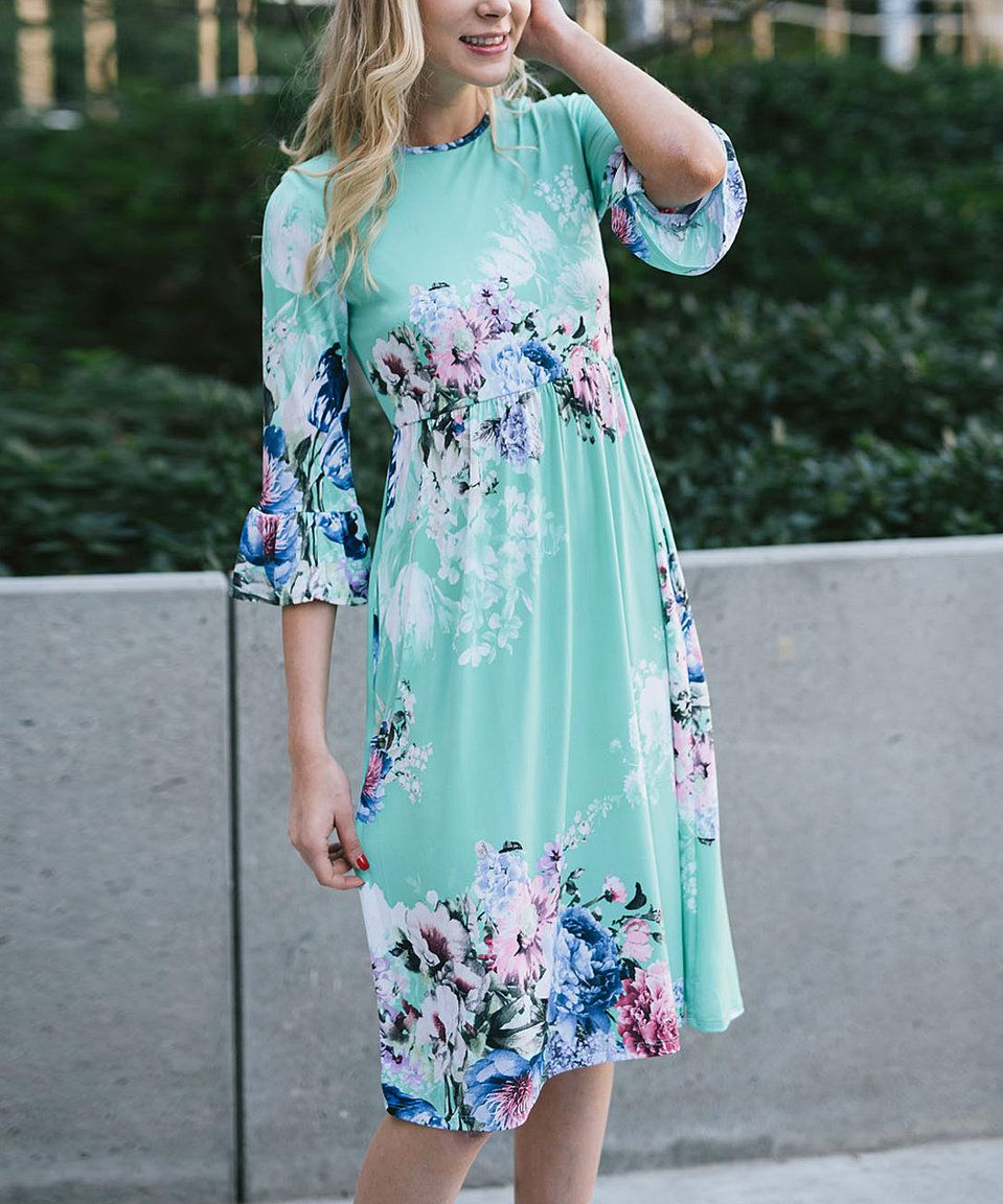 Take a look at this Mint & Royal Blue Floral Ruffle-Trim Empire-Waist Midi Dress today!