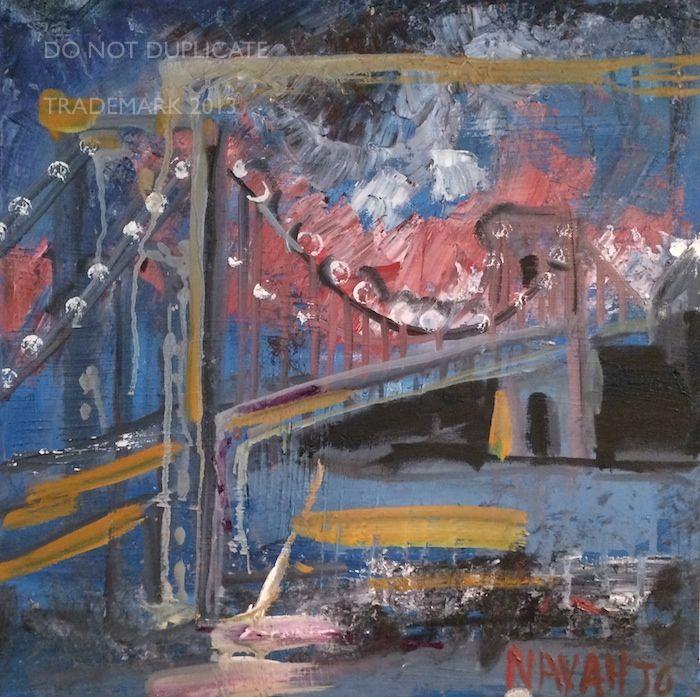 Navahjo Stoller Oil Paintings Hudson Heights George Washington Bridge Piantings Gwb With Images Painting