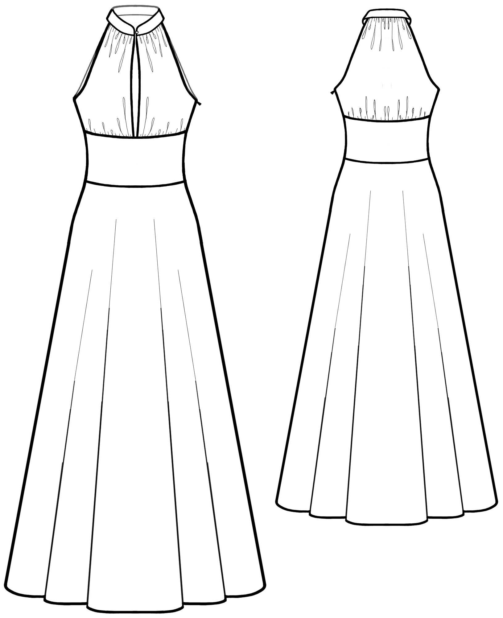 Dres With Stand Collar - Sewing Pattern #5583 Made-to-measure sewing ...