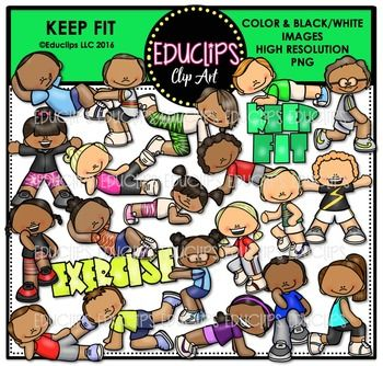 This Is A Collection Of Kids Keeping Fit And Doing Various Exercises There Is A Boy And Girl Version For Each Pose Exercises Sho In 2020 Art Bundle Clip Art Keep Fit