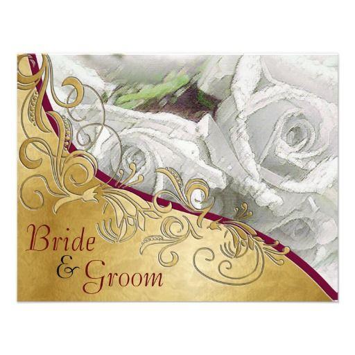 white roses gold flat 2 sided wedding invite gold flats white