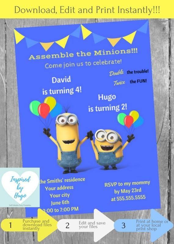Minion Double Birthday Invitation Despicable Me Invite Boys Dual INSTANT DOWNL