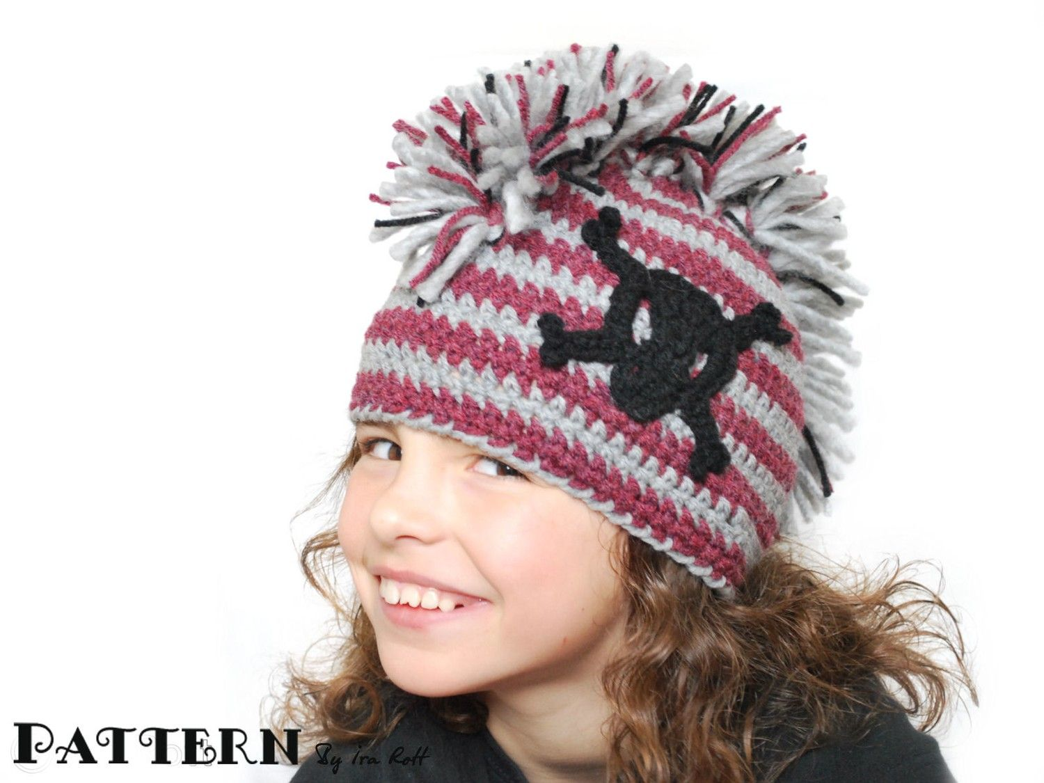 Pattern Skull And Crossbones Punk Hat With Mohawk Crochet Pdf