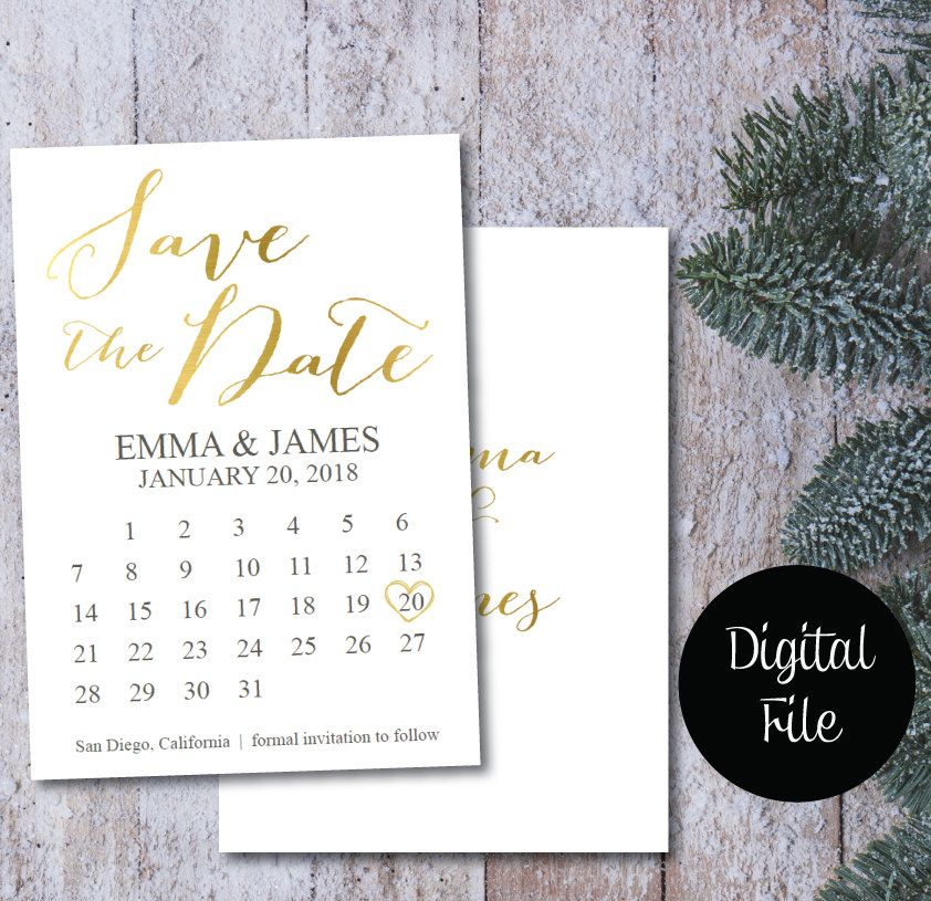 image relating to Free Printable Save the Date identified as Gold Foil Help save the Day Calendar/Help save the Day Postcard