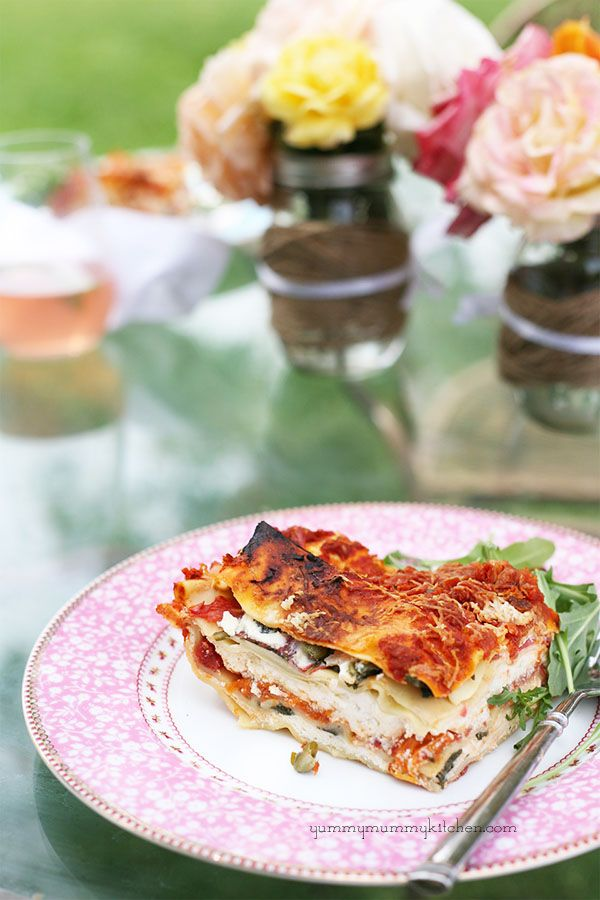 Vegetarian Lasagna Recipe with Heirloom Tomatos and Greens on Yummy Mummy Kitchen