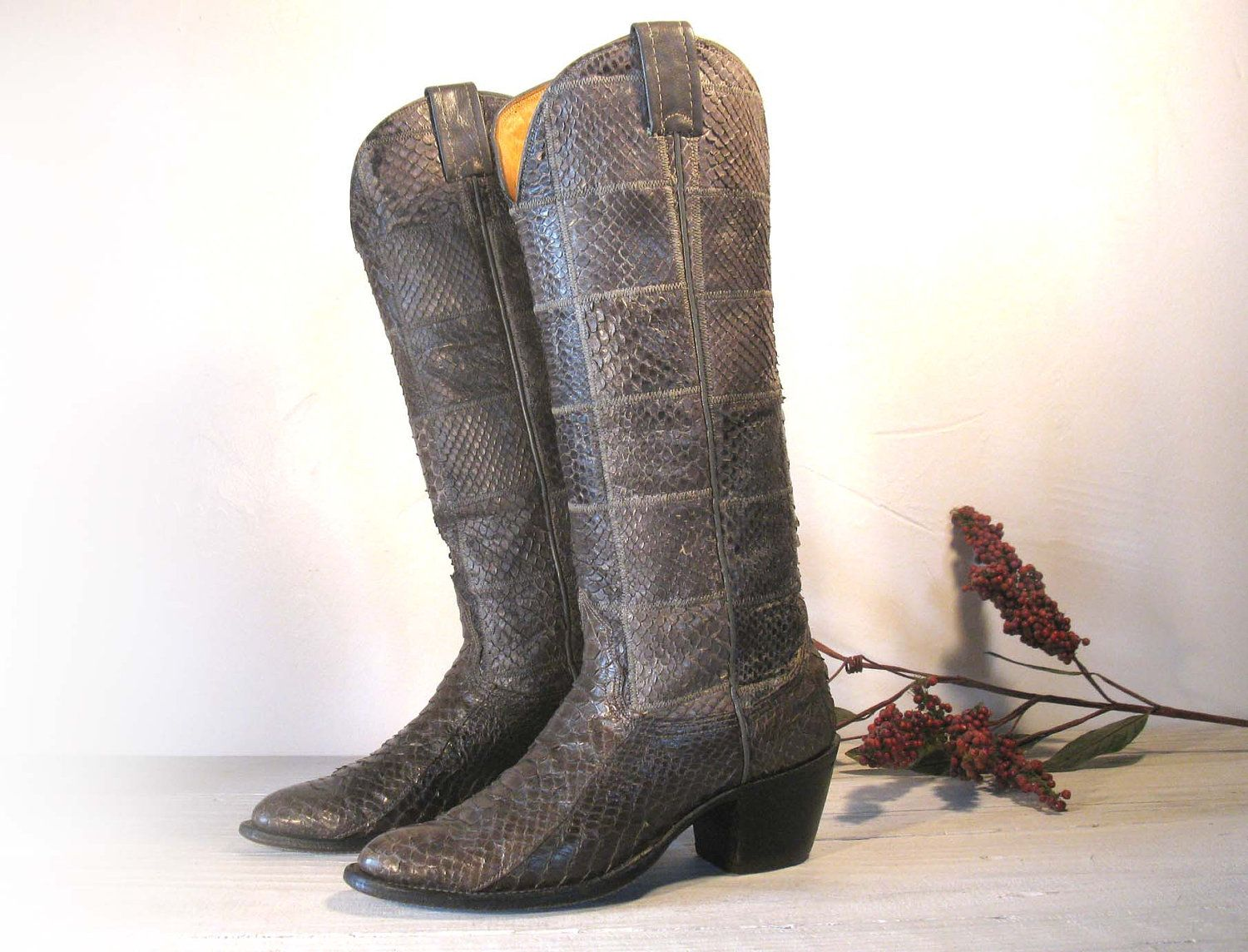 fe7d6266224 NOCONA Tall Gray Snake Skin Patchwork All Leather Cowboy Boots ...