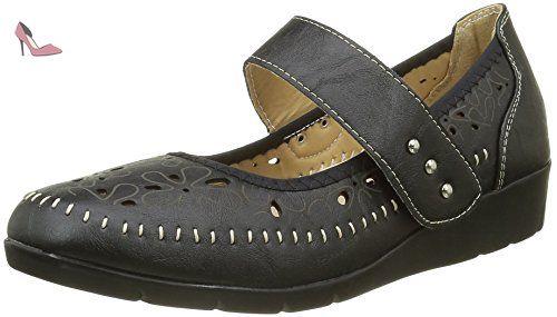 6287526ab3a Chaussures femme noires confort aérée dessin fleurs - 38 - Chaussures  chaussmoi ( Partner-