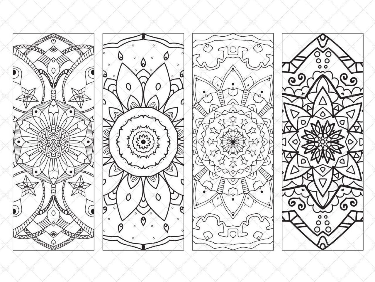 printable coloring bookmarks mandala to