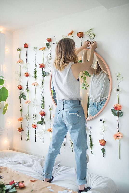 DIY Flower Wall (With images) | Wall bedroom diy, Diy ...