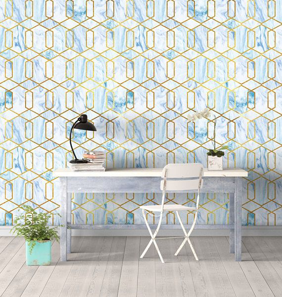 Marble Gold Geo Wall Covering Art Removable Self Adhesive Etsy Apartment Decorating Rental Self Adhesive Wallpaper Wall Covering