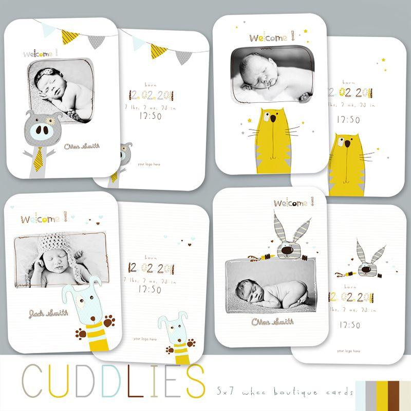 Cuddlies Whcc Boutique Birth Announcement Cards - Boy