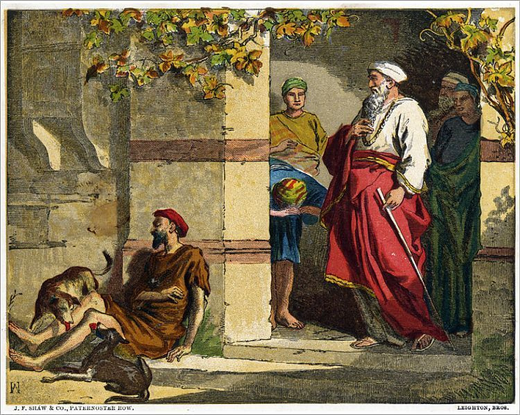 Print of Bible, New Testament parable of Lazarus and the