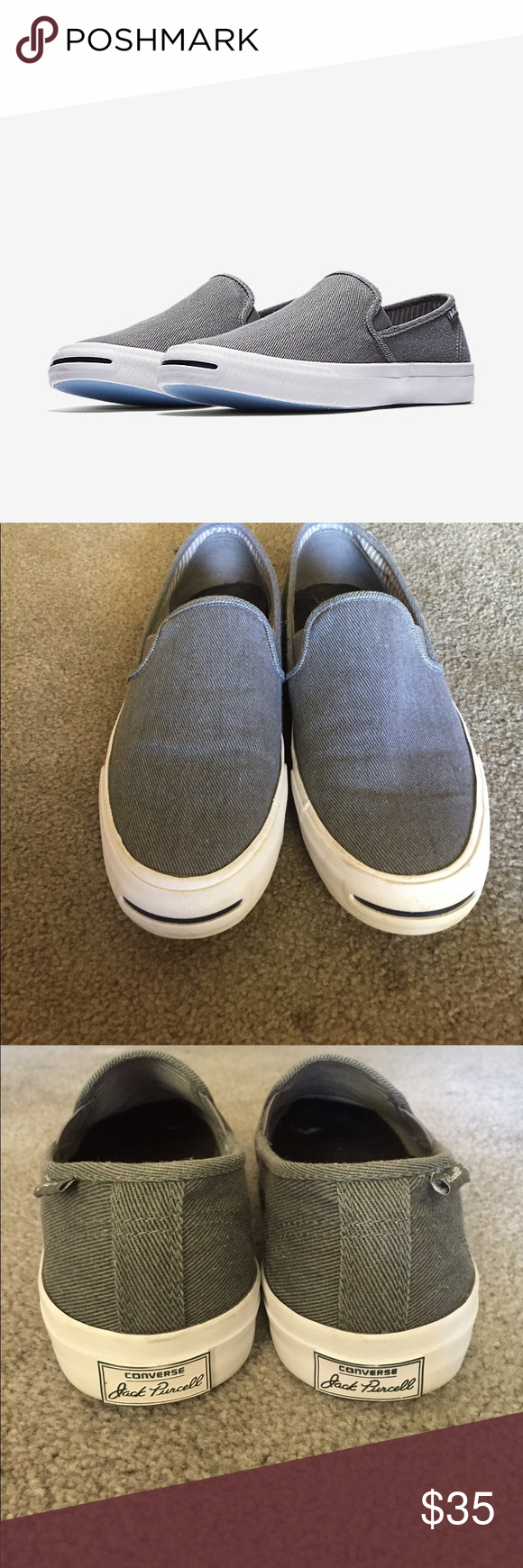 0b9eed94cd00d3 Converse Jack Purcell II Slip on Jack Purcell Signature slip-on low rise  shoes. Gray canvas style that have unnoticeable wear on the outside.
