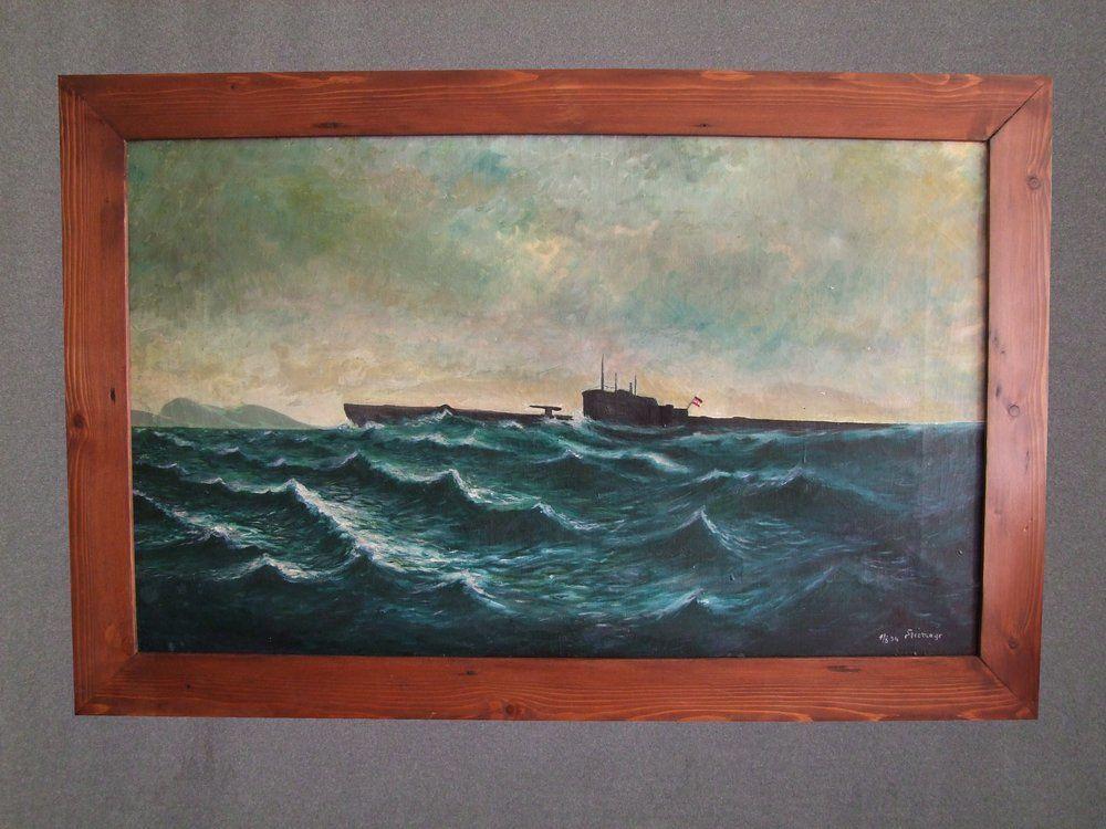 Original Oil painting of an Imperial German U-Boat Surfacing, £375