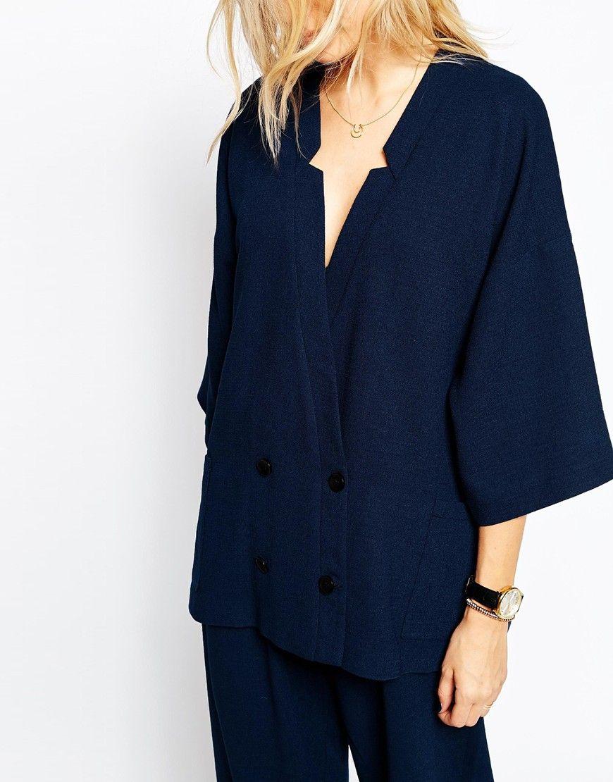 Image 3 of Just Female Item Kimono Blazer in Medieval Blue
