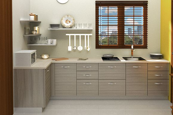 Modular Lshaped Kitchen With Dual Color Combination Consisting Custom Modular Kitchen L Shape Design Design Inspiration