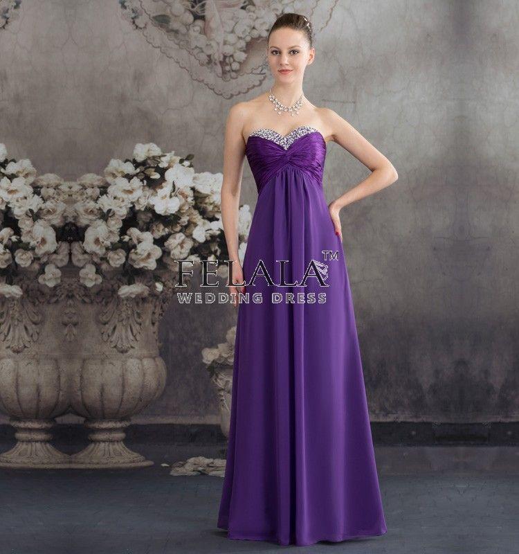 Elegant Sweetheart Long Dark Purple Bridesmaid Dresses | Bridesmaid ...