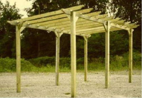 NEW 3.6m X 2.4m Wooden Garden Pergola Pagoda KIT With Post Anchors   EBay