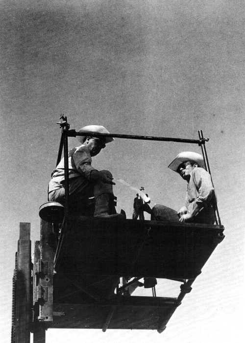 Director George Stevens and James Dean on the set of Giant, 1955.
