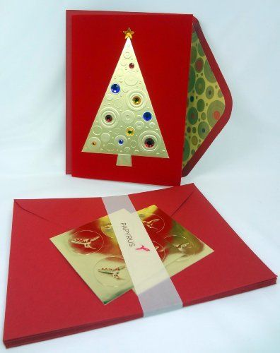 papyrus christmas premium holiday cards featuring gold tree jeweled with rhinestones boxed set of 8 greeting - Papyrus Holiday Cards