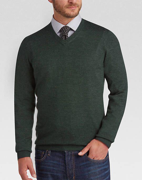 c76f1e32700d0 Joseph Abboud Dark Green V-Neck Merino Wool Sweater - Mens Sweaters