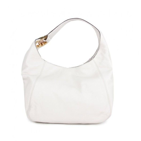 Michael Kors Womens Cream Mk Metal Logo Leather Shoulder Bag found on Polyvore