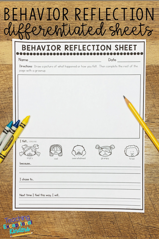 Behavior Reflection Sheets For Kids In 2020 Behavior Reflection Behavior Reflection Sheet Learning Worksheets