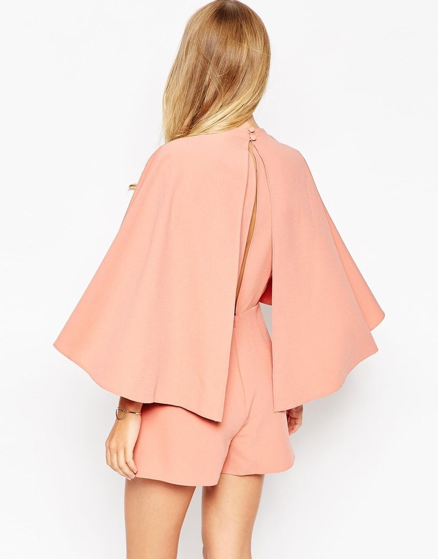 Image 2 ofASOS Occasion Playsuit with Cape and Keyhole