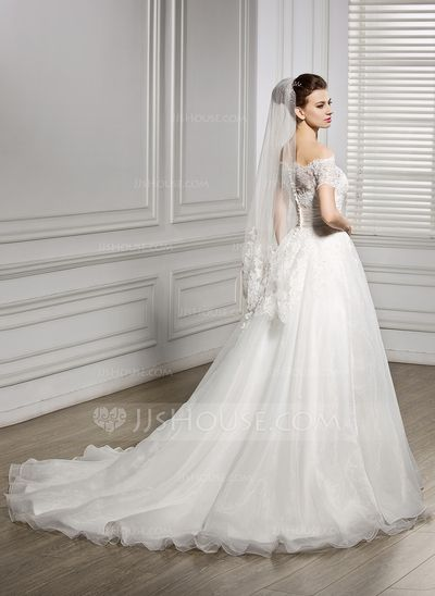 Corte A/Princesa Hombros caídos Cola corte Organdí Encaje Vestido de novia con Volantes Bordado Lentejuelas (002056954)