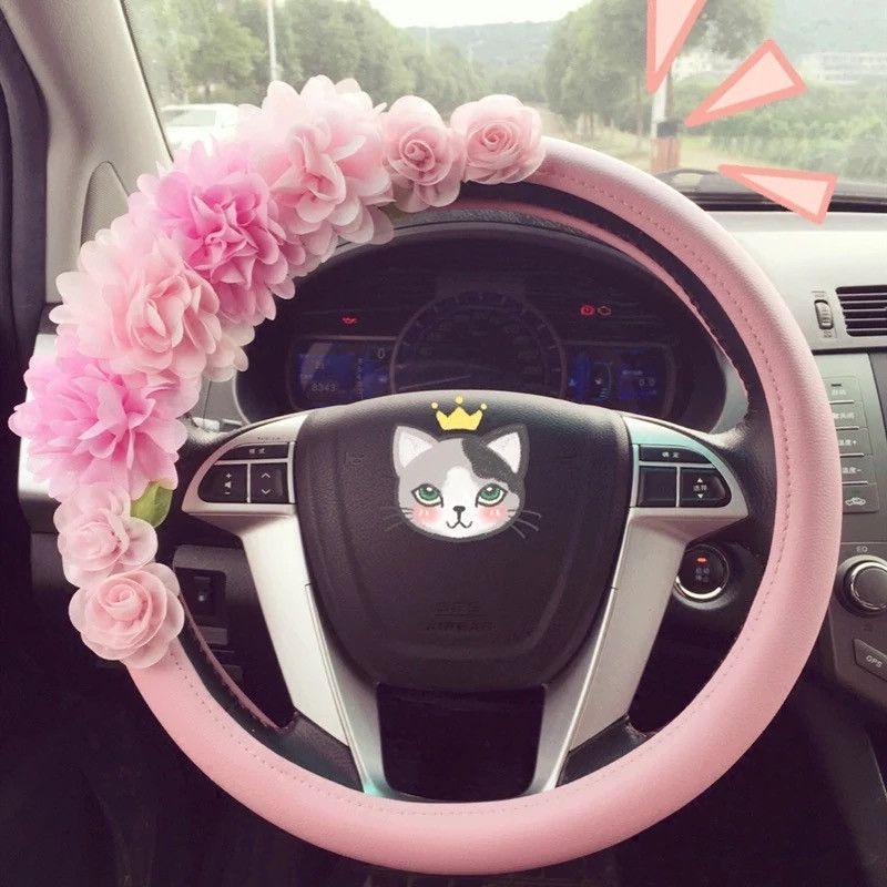 Pink Lace Steering wheel cover with Chiffon Bow Pink car