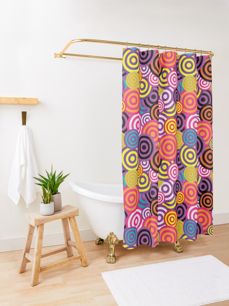 Sea Of Bright Funky Circles Shower Curtain In 2020 Shower
