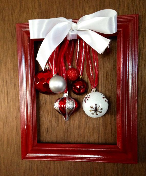 Christmas Frame Door Hanger Red Frame Christmas Balls Christmas Decor Upcycled Frame Christmas Wreath Christmas Gift Christmas Frames Christmas Decorations Christmas Balls