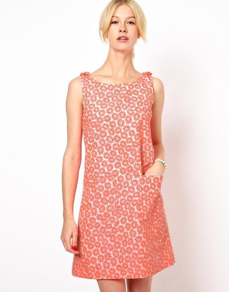 0d1314b7e684 Bow Shoulder Shift Dress in Bright Daisy Print - Lyst $187.00 | one ...