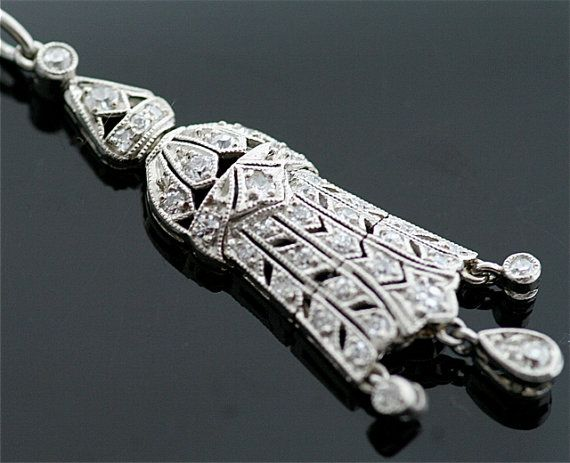 Antique Diamond Pendant  Diamond Lavaliere by SITFineJewelry, $4500.00
