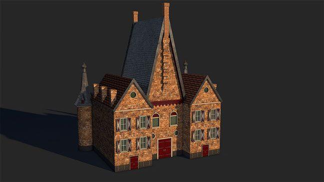 free-c4d-3d-model-dutch-17th-century-brick-house-3   maya in 2019