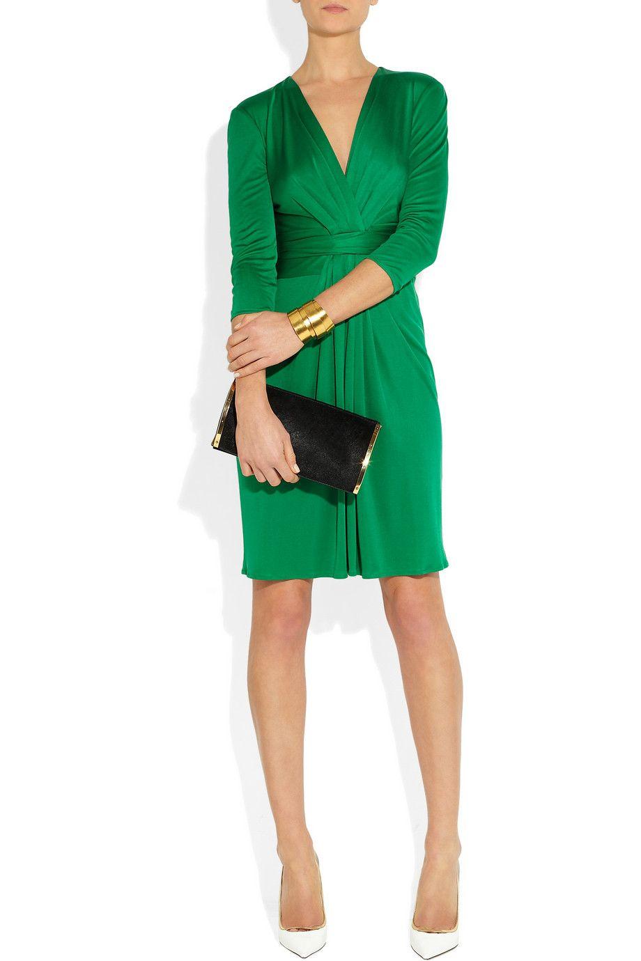 Issa | Ruched emerald silk-jersey dress | a girl can dream ...