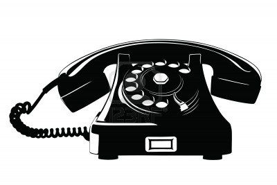 Old Style Analog Phone Stencil With Loose Curly Cord Old Phone Antique Telephone Lino Print