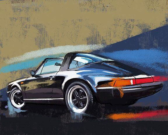 Porsche Carrera 911 Targa, classic car large wall art –