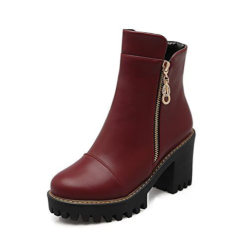 Ladies Chunky Heels Buckle Round Toe Claret Imitated Leather Boots - 5 B(M) US