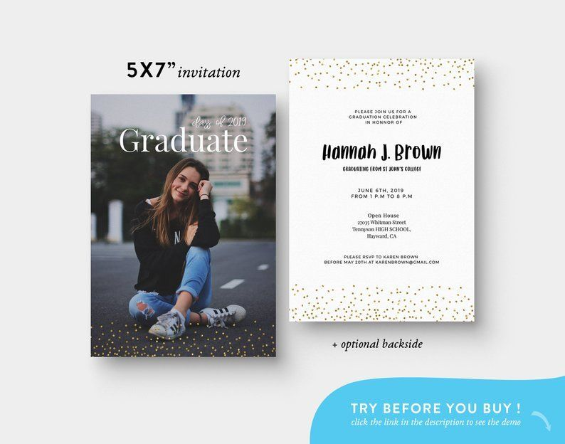 Editable Photo Graduation Invitation 2019  Photo Graduation Invitation Editable Template  Printable Grad Invite  Gold Senior Template Editable Photo Graduation Invitation...
