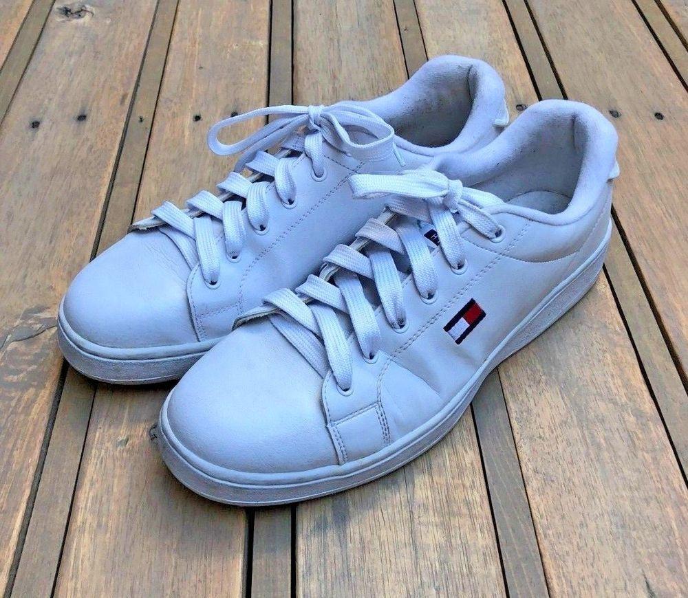 69a92b84c97 Vintage 90s Leather Tommy Hilfiger Shoes Men Sz 11m 11 White Flag ...