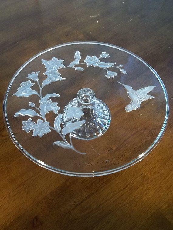 Vintage Avon Hummingbird Leaded Crystal Cake Plate- Cake Stand- Bakeware- Cooking- Cookware- Home Decor & Vintage Avon Hummingbird Leaded Crystal Cake Plate- Cake Stand ...