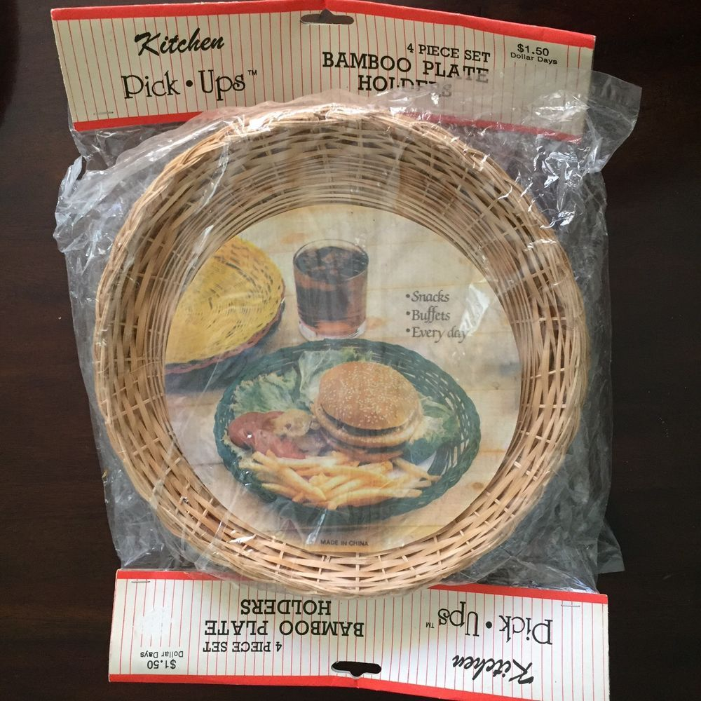Vintage Paper Plate Holders Bamboo Wicker Rattan Picnic C&ing Cookout RV BBQ & Vintage Paper Plate Holders Bamboo Wicker Rattan Picnic Camping ...